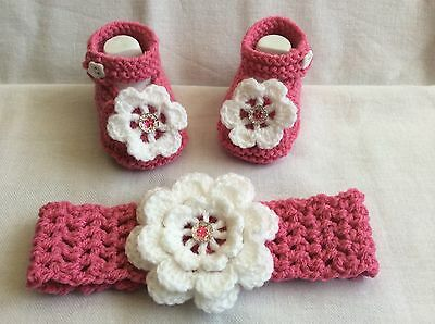 Hand knitted Romany bling baby  girls booties/ crochet headband 0-3 months