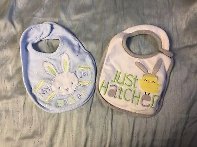 2 Easter Bibs - My First Easter & Just Hatched