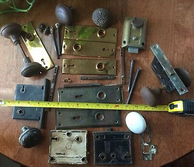 Large Lot Of Vintage Antique Door Hardware, Knobs Plates Mortises