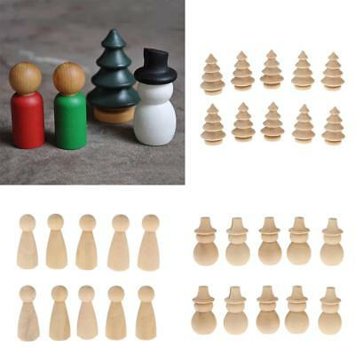 30pcs Blank Wooden Peg Doll Snowman Tree Bridal DIY Unpainted Making Crafts