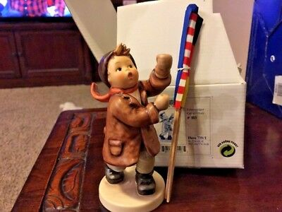 M I Hummel Call To Glory HUM 739/1 Special figurine With 3 Flags  By Goebel