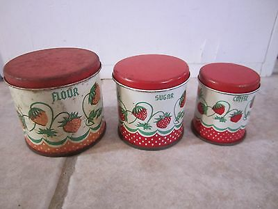 Set Of 3 Vintage Child's Toy Wolverine Canisters Strawberry Pattern!!!