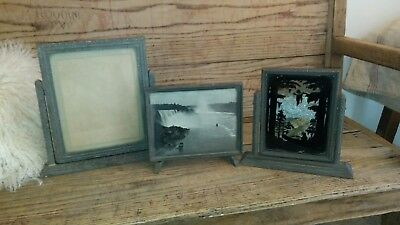 lot of 3 Vintage Table Top Art Deco Wood Swivel Tilt Picture Frame With Glass