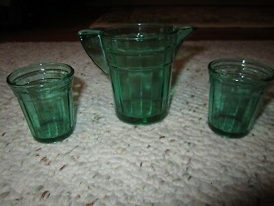 Vintage Glass Akro Agate Childs Toy Green Pitcher & 2 Tumblers!!!
