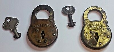 Lot Of 2 Antique Metal Padlocks-Six Levers & Yale-Made In Usa-With Keys!