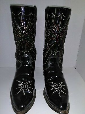 Texas Cowboy boots size 11 1/2 D Vintage Patent Leather Spider Web Rockabilly