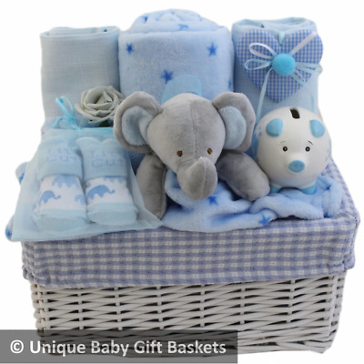Baby gift basket/hamper boy with piggy bank baby shower baby gift nappy cake