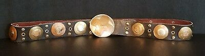 Awesome Antique / Vintage Silver Brass And Copper Concho / Buckle Leather Belt
