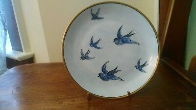 """UNO """"Favorite"""" Bavaria China hand painted plate with blue swallows and gold trim"""