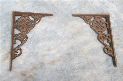2 Elegant Eastlake Rustic Cast Iron Shelf Brackets Art Deco Ornate Clock Wall j