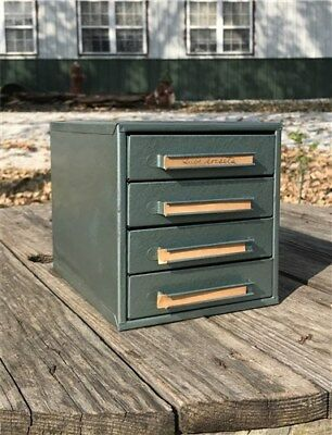 4 Drawer Small Metal Filing Cabinet File Vintage Storage Card Nut Bolt Parts p