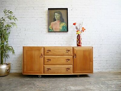 Vintage Retro Mid Century Ercol Windsor 3 Drawers Media Cabinet Unit Sideboard