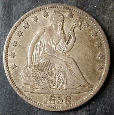 1858 O 50c Seated Liberty Silver Half Dollar