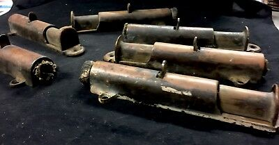 Large Lot Of 6 Antique Vintage Brass Copper Door Lock Plungers