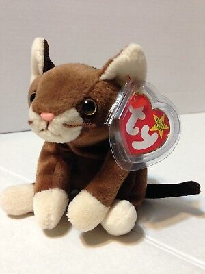 e1347bdca57 POUNCE the Brown Cat August 28 1997 TY Beanie Baby Plush Stuffed Animal Toy  New