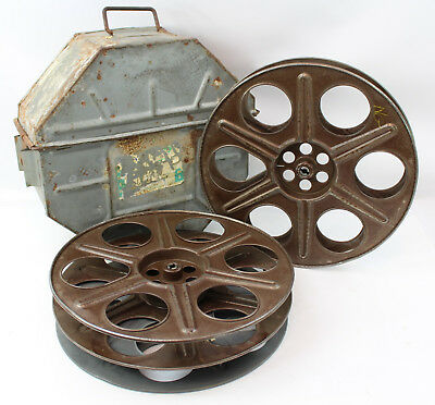 Vintage Movie Film Reel Metal Shipping Mailing Carry Case Box with 3 Reels