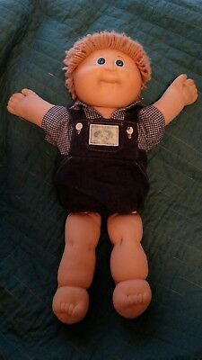Cabbage Patch Kids: Boy, Blue Eyes, One Dimple Blond Hair  1983 Denim Outfit.