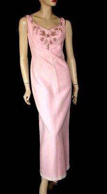 Rare Anne Simone Beverly Hills Pink Hand Embellished Dress & Long Vest Coat M-L
