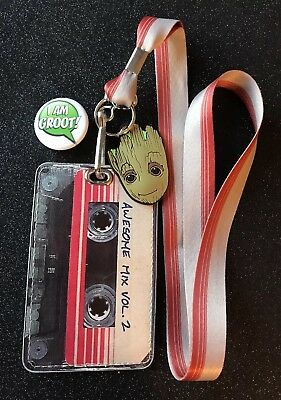 Groot Mix Tape Lanyard With Groot Button Pin.