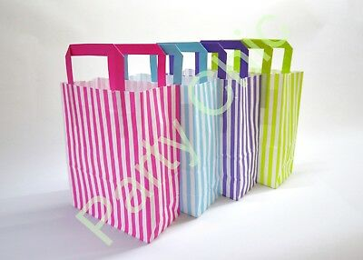 CANDY STRIPE PAPER PARTY BAGS WITH FLAT HANDLES 18x8x22cm KIDS HEN BOYS GIRLS