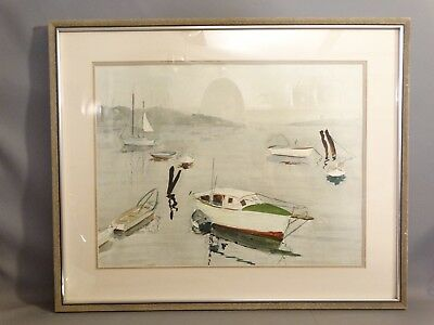 Vintage MARITIME WATERCOLOR Old SAILBOAT in INLET Harbor SEASCAPE Boat PAINTING