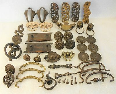 Lot, 40 - Piece Vintage, Old, Antique Door / Drawer Pulls-Knobs Escutcheons ...