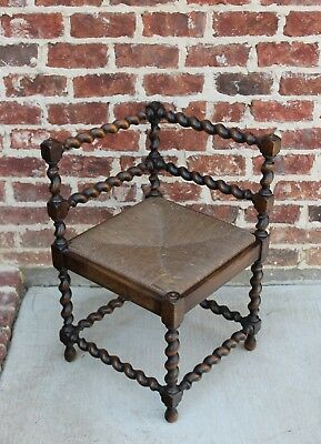 Antique French Country Oak BARLEY TWIST Corner Chair Bench Rush Seat 2 of 2