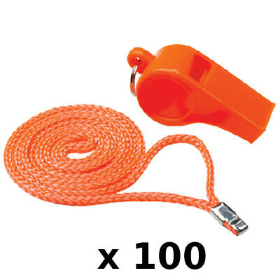 100 Pack of Standard Orange Colored Plastic Safety Whistles for Boats