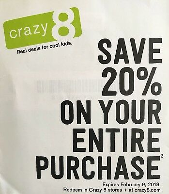 Crazy 8 Code 20% Off Exp. 02/09/18