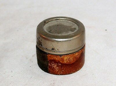 Antique Traveling Inkwell Round Brown Leather Push Button Silver Colored Metal