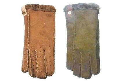 Womens LADIES GENUINE FULL SUEDE GLOVES FUR NEW BLACK BROWN TAN