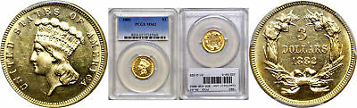 1882 $3 Gold Coin PCGS MS-62