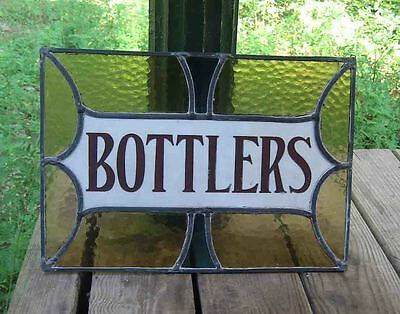 "c1900 Coca Cola Era Bottle ""BOTTLER"" Milk LEADED STAINED GLASS Window Adv SIGN"