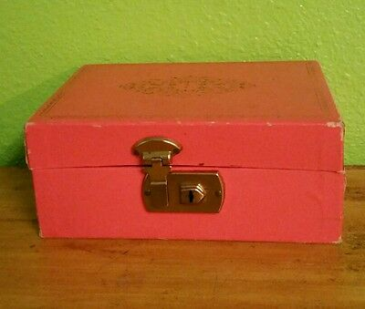 Vtg Early Mid-century Salmon/Coral&Ornate Gold Trim Jewelry Box w Latch American