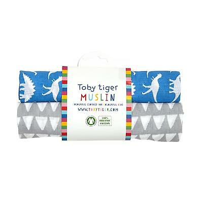 Toby Tiger Dino Muslin Set Organic Cotton 2 Pack