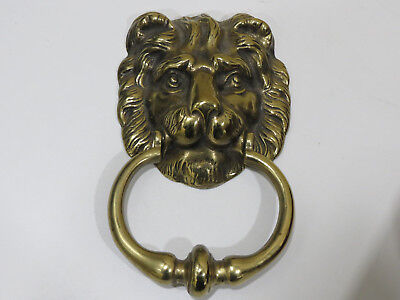 Large Antique Vintage Solid Brass Lion Face Door Knocker,  England