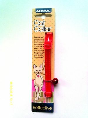 Ancol Red Gloss Reflective Cat Collar With Safety Buckle And Bell - New -