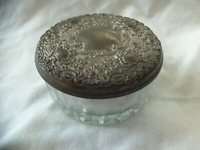 Antique Glass Powder Jar Vanity Dish With Powder Puff