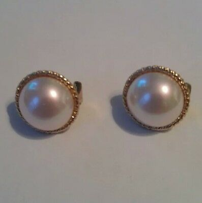 Majorica Signed Gold Overlay Sterling Faux Mabe Pearl Earrings Great Condition