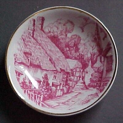 Staffordshire vintage red & white butter pat-England