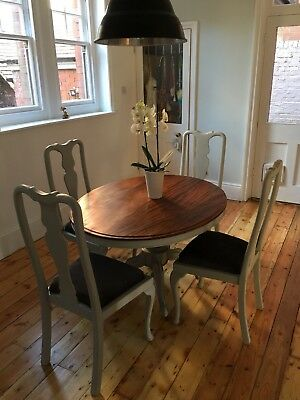 Antique French painted Victorian mahogany oval table 4 vintage Queen Anne chairs