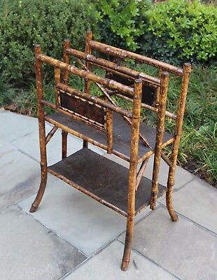 Antique English Bamboo Lacquer Chinoiserie Canterbury Magazine Rack Book Holder