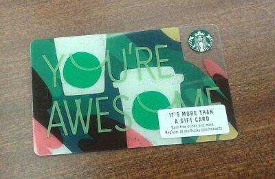 "STARBUCKS GIFT CARD  CUPS ""YOU'RE AWESOME "" #6149 COLLECTIBLE, MINT issued 2018"