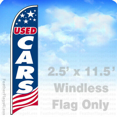 USED CARS - Windless Swooper Feather Flag 2.5x11.5' Banner Sign - USA bb