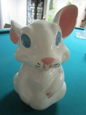 Bunny Cookie Jar, Marked Pat Pend, Sitting Rabbit With Pink Cold Paint Ears
