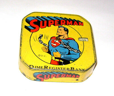 EXCELLENT Rare Vintage Superman Dime Register Bank.   548-G