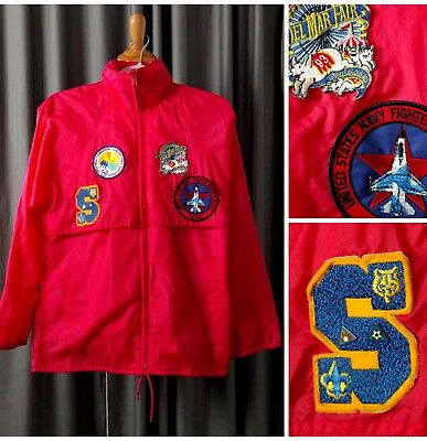 Vintage 90s Boy Scouts of America Rain Jacket Men S M Red Patch Olympic BSA VTG