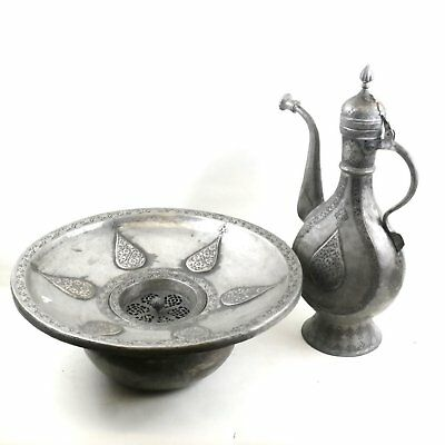 Antique Islamic Ewer and Incised Bowl