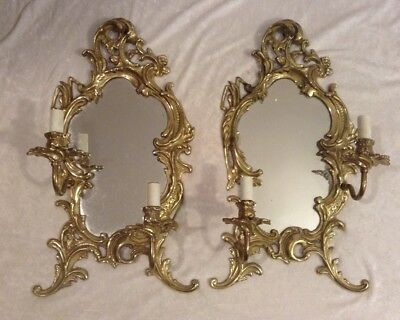 Pair (2) Antique French Baroque Brass Mirror Double Wall Sconce Electric Wiring