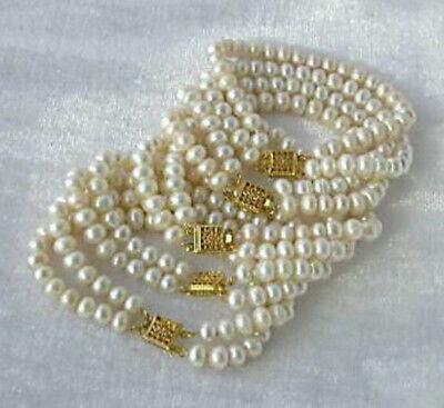 Wholesale 5Pcs Genuine 7-8mm Natural White Akoya Cultured Pearl Bracelet 7.5""